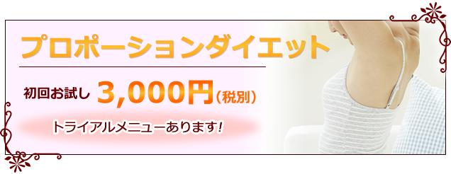 プロポーションダイエット初回お試し3000円(税別)トライアルメニューあります!